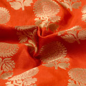 Orange and Golden flower Design Brocade Silk Fabric-5313