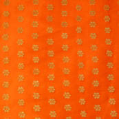Orange and Golden small flower shape brocade silk fabric-4679
