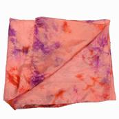 Orange and Purple Batik Satin Fabric-32033