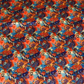 Orange and Sky Blue Floral Pattern Digital Print Silk Fabric-4408