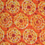 Orange and Yellow Shibori with Tie Dye Print Cotton Fabric