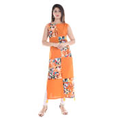 Orange and Yellow Sleeveless Appilque Work Cotton and Rayon Kurti-3046
