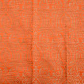 Orange and golden paisley brocade silk fabric-5028