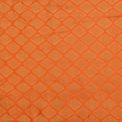Orange and golden unique shape brocade silk fabric-5009