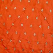 Orange and silver zari brocade silk fabric-5059