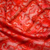 Orange flower kota doria fabric-4949