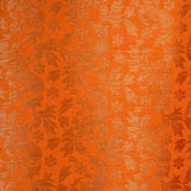 Orange flower shape brocade silk fabric-4963