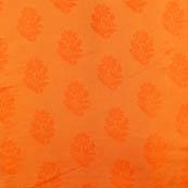 Orange flower shape soft brocade silk fabric-5064