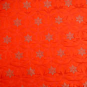 Orange silver star shape brocade silk fabric-5016