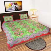 Parrot and Red leaves design printed Bedsheet with 2 Pillow Covers
