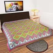 Parrot and dark pink blocks design printed Bedsheet