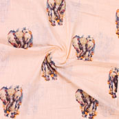 Peach Black Elephant Digital Print Cotton Slub Fabric-15115