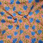 Peach Blue Block Print Cotton Fabric-14640