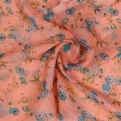 Peach Blue Digital Organza Silk Fabric-51664