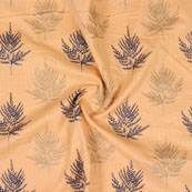 Peach Blue and Green Kantha tree Print Cotton Fabric-15129