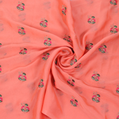 Peach Chiffon Fabric With Pink and Green Flower Embroidery -60799