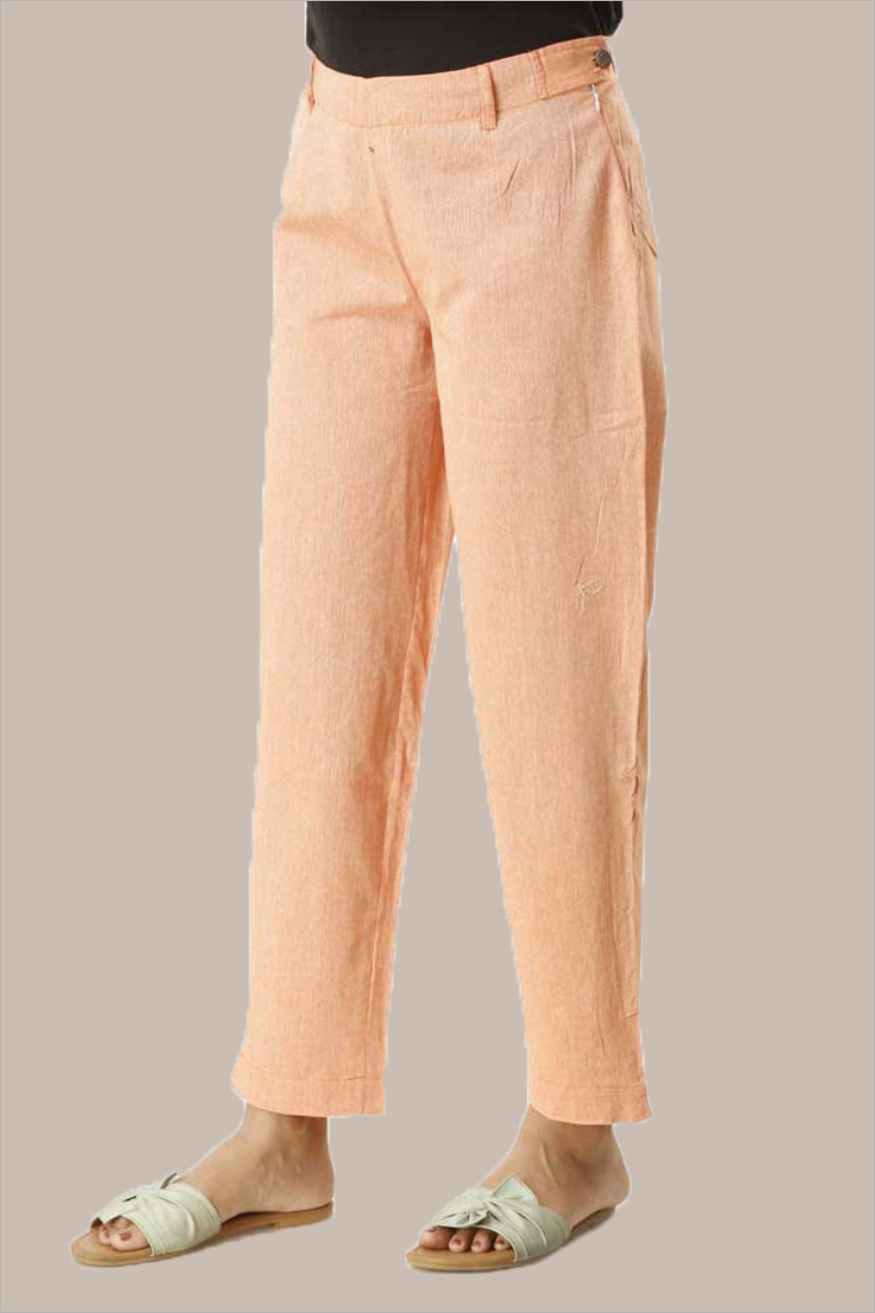 Peach Cotton Samray Ankle Length Pant-33712