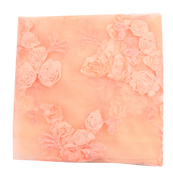 Peach Flower Net Embroidery Fabric-60860
