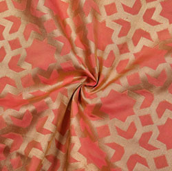 Peach Golden Abstract Brocade Silk Fabric-12246