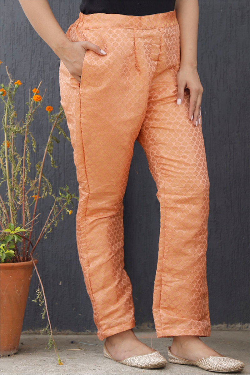 Peach Golden Brocade Silk Ankle Women Pant-34194