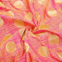 Peach Golden Circle Brocade Silk Fabric-12493