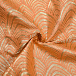 Peach Golden Floral Banarasi Silk Fabric-12158
