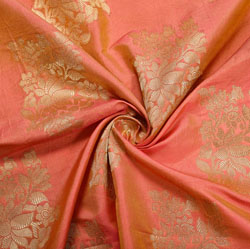 Peach Golden Floral Brocade Silk Fabric-12141