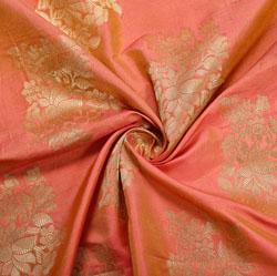 Peach Golden Floral Brocade Silk Fabric-12141