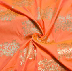 Peach Golden Floral Brocade Silk Fabric-12204