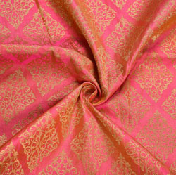 Peach Golden Floral Brocade Silk Fabric-12257