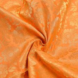 Peach Golden Floral Chanderi Zari Silk Fabric-12221