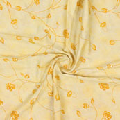 Peach Golden Floral Jam Cotton Fabric-15148