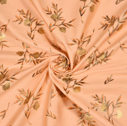 Peach Golden Floral Rayon Fabric-16229