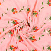 Peach Golden Flower Embroidery Chinon Fabric-35015