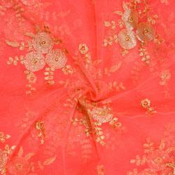 Peach Golden Embroidery Silk Net Fabric-18721
