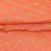 Peach Golden Polka Jacquard Brocade Silk Fabric-9179