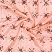 Peach Golden Sequin Chinnon Embroidery Fabric-29281