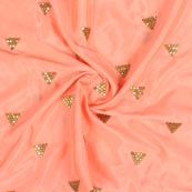 Peach Golden Zari Chinnon Embroidery Fabric-29273