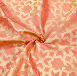 Peach Golden Zig-Zag Brocade Silk Fabric-12529