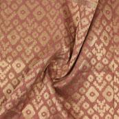 Peach Golden Zig Zag Jacquard Brocade Silk Fabric-9125