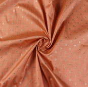 Peach Golden and Blue Zari Dot Silk Fabric-9470