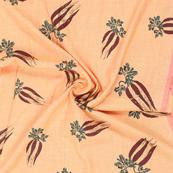 Peach-Golden and Green Jam Cotton Silk Fabric-75171