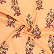 Peach-Golden and Green Jam Cotton Silk Fabric-75175