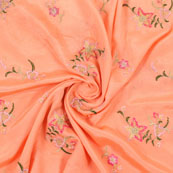 Peach Golden and pink Flower Embroidery Chinon Fabric-35005