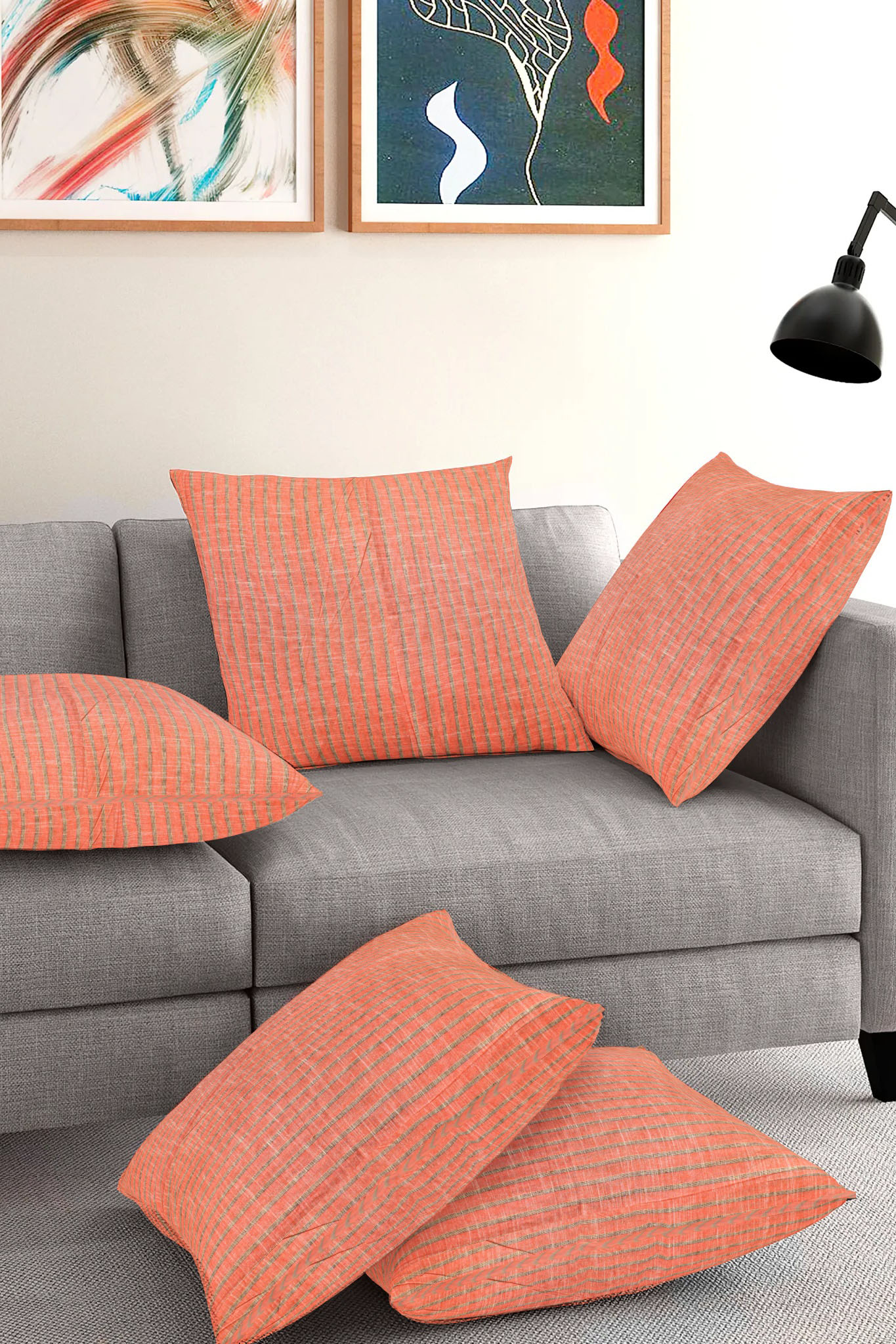 Set of 5-Peach Gray Cotton Cushion Cover-35416-16x16 Inches