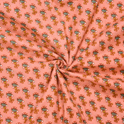 Peach Green Floral Cotton Fabric-28111