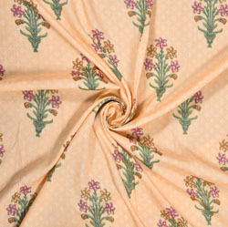 Peach Green Floral Rayon Fabric-16231