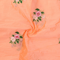 Peach-Green and Pink Floral Design Silk Embroidery Fabric-60239