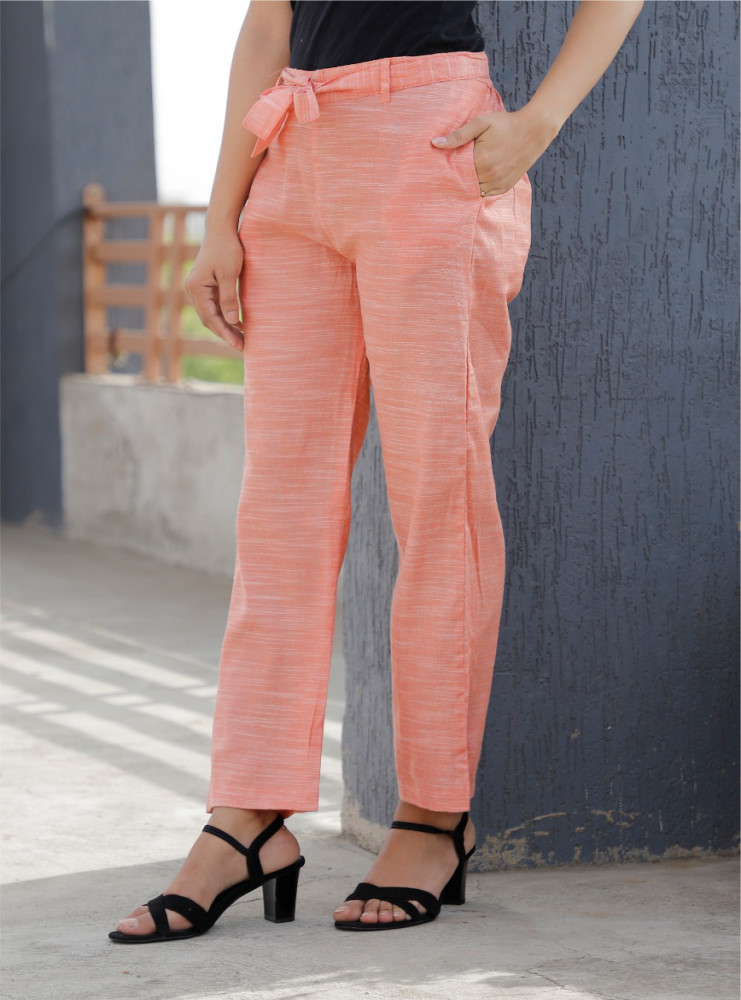 Peach Linen Slub Silk Women Pant with Loose Belt-33232