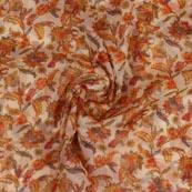 Peach Orange Digital Organza Silk Fabric-51662